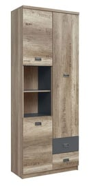 Black Red White Malcolm II Shelf Oak/Gray