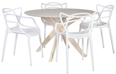Home4you Dining Room Set Jenna 4 White/Oak/Grey