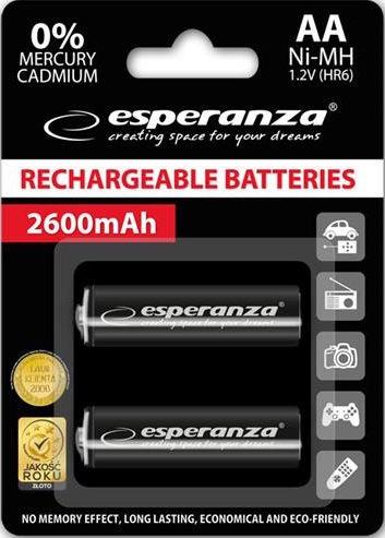 Esperanza Rechargaeble Batteries 2x AA 2600mAh Black