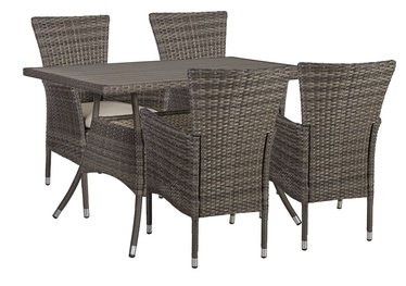 Home4you Paloma Table And 4 Chairs Set Brown