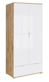 Black Red White Zele Wardrobe 90x195cm Wotan Oak/White Gloss