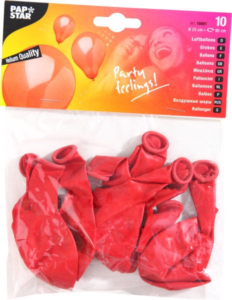 Pap Star Balloons 10pcs Red