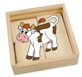 Woodyland Mini Puzzle In Wooden Box Happy Engine 16pcs 93003