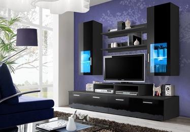 ASM Mini Living Room Wall Unit Set LED Black