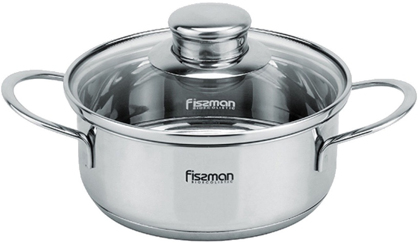 Fissman Pot Bambino Stainless Steel 14x6.0cm With Glass Lid 0.9L 5273
