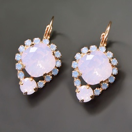 Diamond Sky Earrings With Crystals From Swarowski Diva II Rose Water Opal