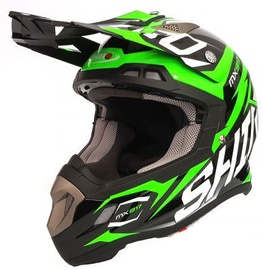 Shiro Helmet MX-917 Thunder Black Fluor Green M