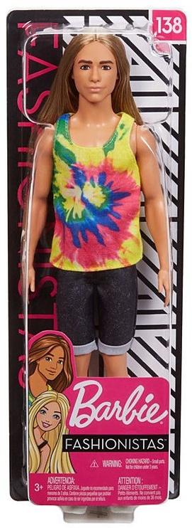 Nukk Mattel Barbie Fashionistas Ken With Long Blonde Hair GHW66