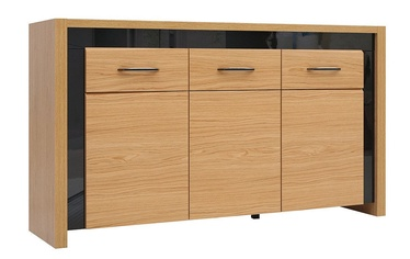 Комод Black Red White Arosa Oak/Black Gloss