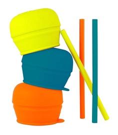 Boon Snug Straw Lids And Straws Orange Multi 3pcs B11149