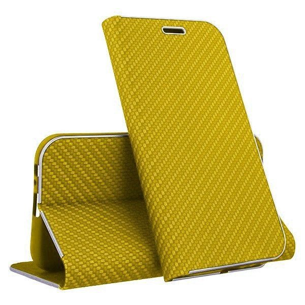 Mocco Carbon Leather Book Case For Huawei P30 Lite Gold
