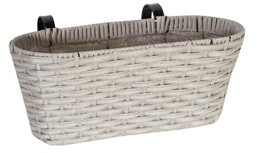 Home4you Wicker Balcony Box 40x18x16cm Light Grey
