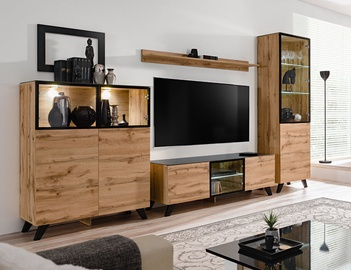 ASM Thin Living Room Wall Unit Set Wotan Oak/Black