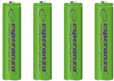 Esperanza Rechargaeble Batteries 4x AAA 1000mAh Green