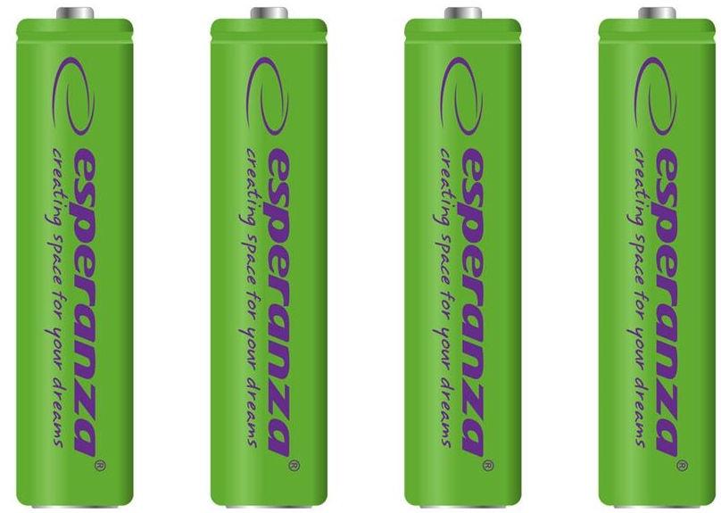 Esperanza Rechargaeble Batteries 4x AAA 1000mAh Green