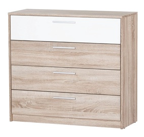 Szynaka Meble Milo 06 CHest Of Drawers White/Sonoma Oak