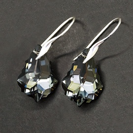Diamond Sky Earrings With Crystals From Swarowski Baroque Silver Night