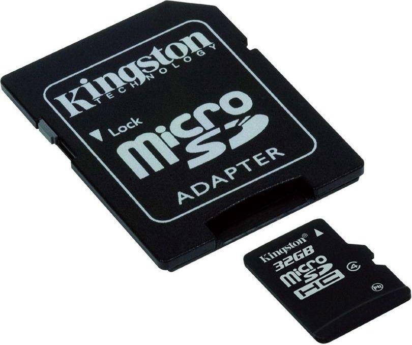 Kingston 32GB microSDHC Card Class 4 +SDHC Adapter