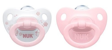 Nuk Baby Pink Silicone Soothers 2pcs 6-18 10735140