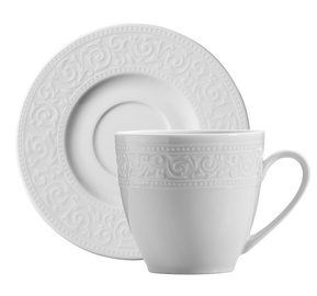 Kutahya Porselen Acelya Coffee Cup & Saucer White 100ml/12cm