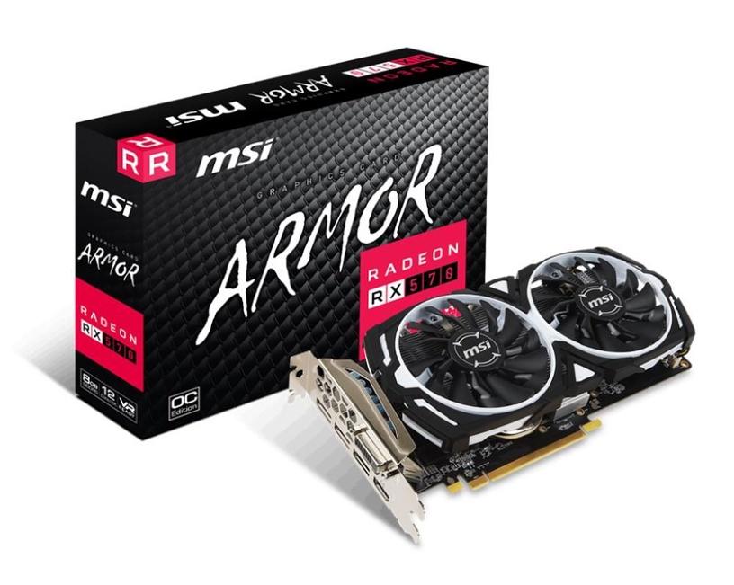 MSI Radeon RX 570 Armor OC 8GB GDDR5 PCIE RADEONRX570ARMOR8GOC