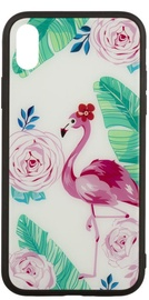 TakeMe Glass Glossy Back Case For Samsung Galaxy S8 Flamingos