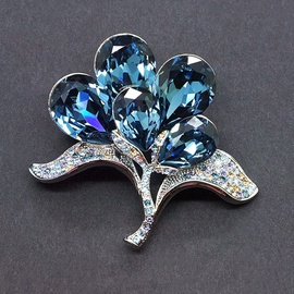 Diamond Sky Brooch The Bride's Bouquet Denim Blue II With Swarovski Crystals