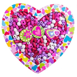 Käevõrude valmistamise komplekt Woodyland Wooden Beads Heart Pink