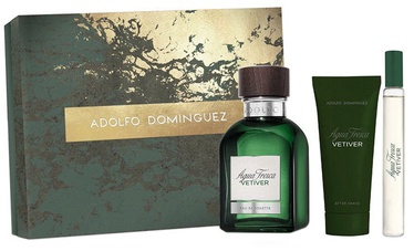 Adolfo Dominguez Agua Fresca Vetiver 120ml EDT + 75ml Aftershave Balm + 20ml EDT