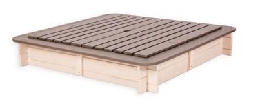 Folkland Timber 4 Corner Sandbox w/ Removable Lid 120x120x20cm White/Graphite