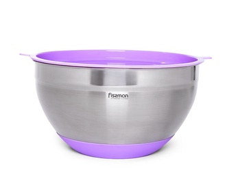 Fissman Mixing Bowl With Silicone Bottom And PE Lid 16x10cm 1.5l Purple