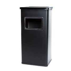 SN Square Outdoor Waste Bin With Ashtray 17l Black
