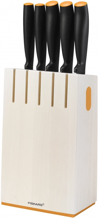 Fiskars Functional Form Birchwood Knife Block with 5 Knives