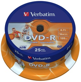 Verbatim DVD-R Wide Printable 16X 4.7GB 25P AZO Cake Box