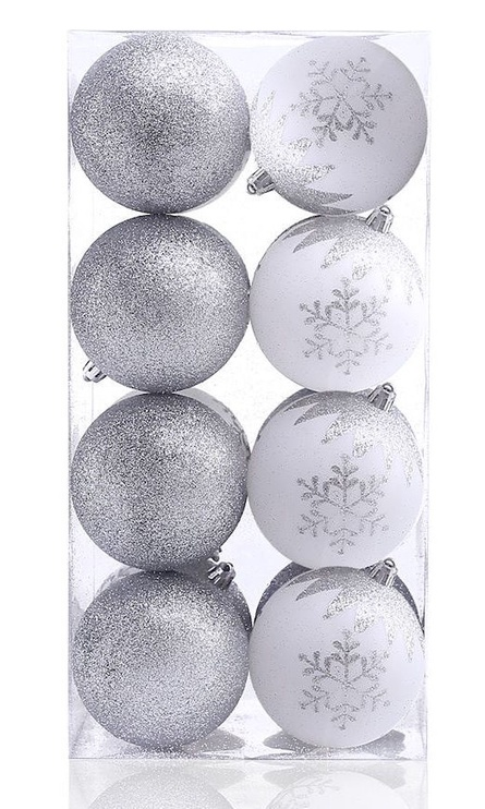 Jõulupuu ehe DecoKing Meli White/Silver, 16 tk