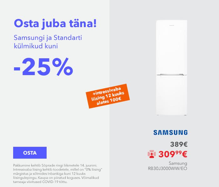 Sa väärid seda! Osta juba täna! Samsungi ja Standarti külmikud kuni -25%