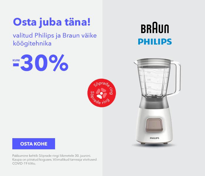 Osta juba täna! Valitud Philips ja Braun väike köögitehnika kuni -30%