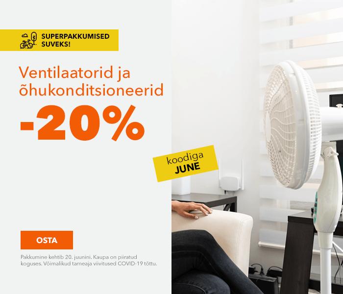 Superpakkumised suveks! Ventilaatorid ja õhukonditsioneerid -20% koodiga JUNE