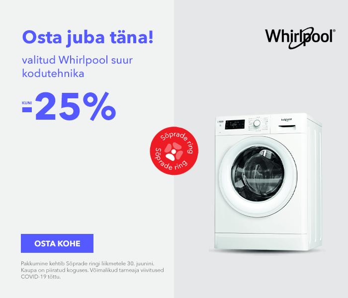 Osta juba täna! Valitud Whirlpool suur kodutehnika kuni -25%