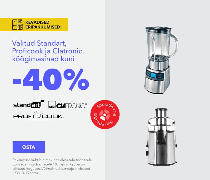 Kevadised eripakkumised Valitud Standart, Proficook ja Clatronic köögimasinad kuni -40%