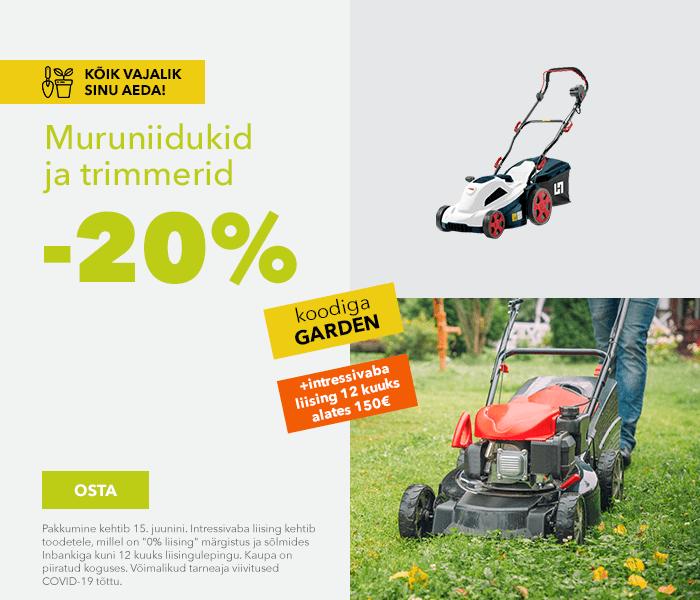Kõik vajalik Sinu aeda! Muruniidukid ja trimmerid -20% koodiga GARDEN