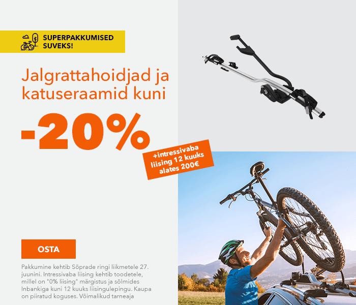 Superpakkumised suveks! Jalgrattahoidjad ja katuseraamid kuni -20%